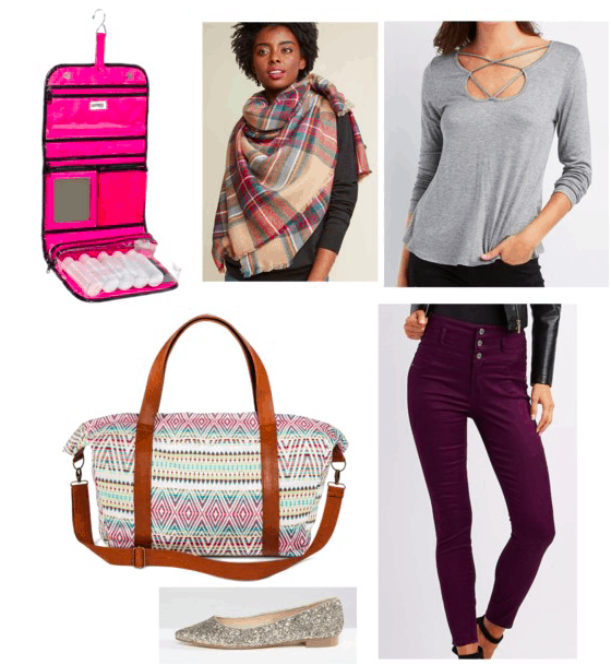 blanket scarf, long sleeve shirt, purple pants, flats