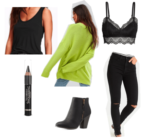 Green oversized sweater, black barrette and tank top, black jeans, black boots