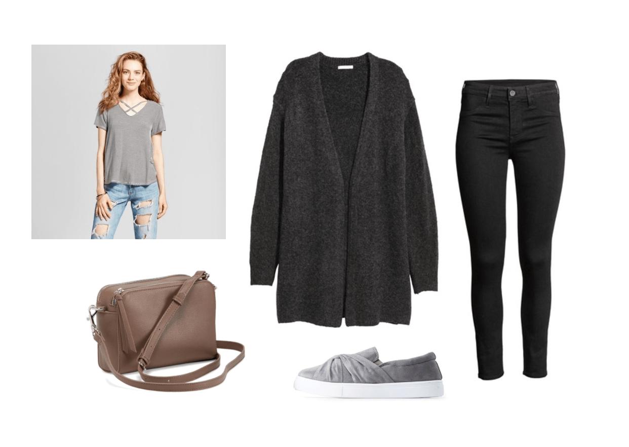 Cardigan outfit 1: Black oversized cardigan, gray criss-cross shirt, gray wrap sneakers, black skinny jeans, brown crossbody bag