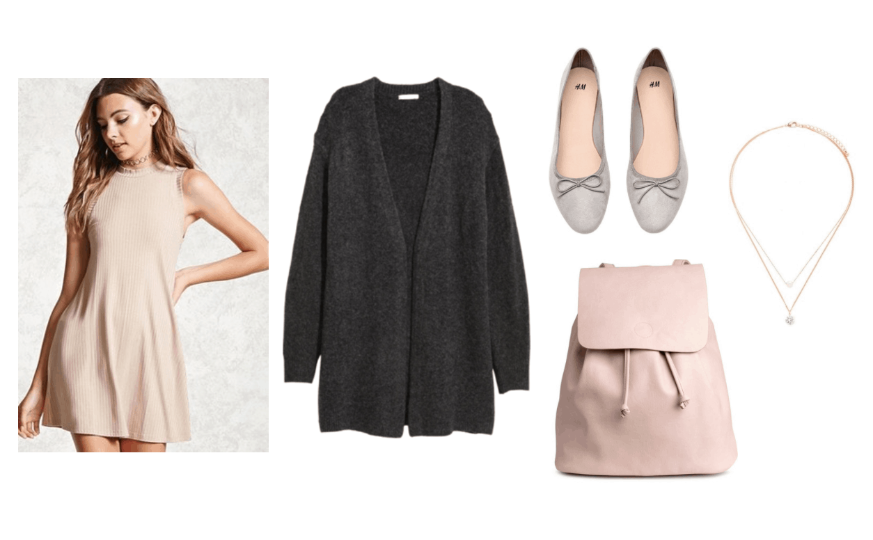 Cardigan outfit 2: Black oversized wool cardigan paired with a beige high neck mini dress, pink backpack, gray ballet flats, layered necklaces