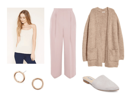 Outfit inspired by BTS Serendipity music video: Pink pleated dress pants, beige cami, tan oversized cardigan, gold circle earrings, comfy gray mules