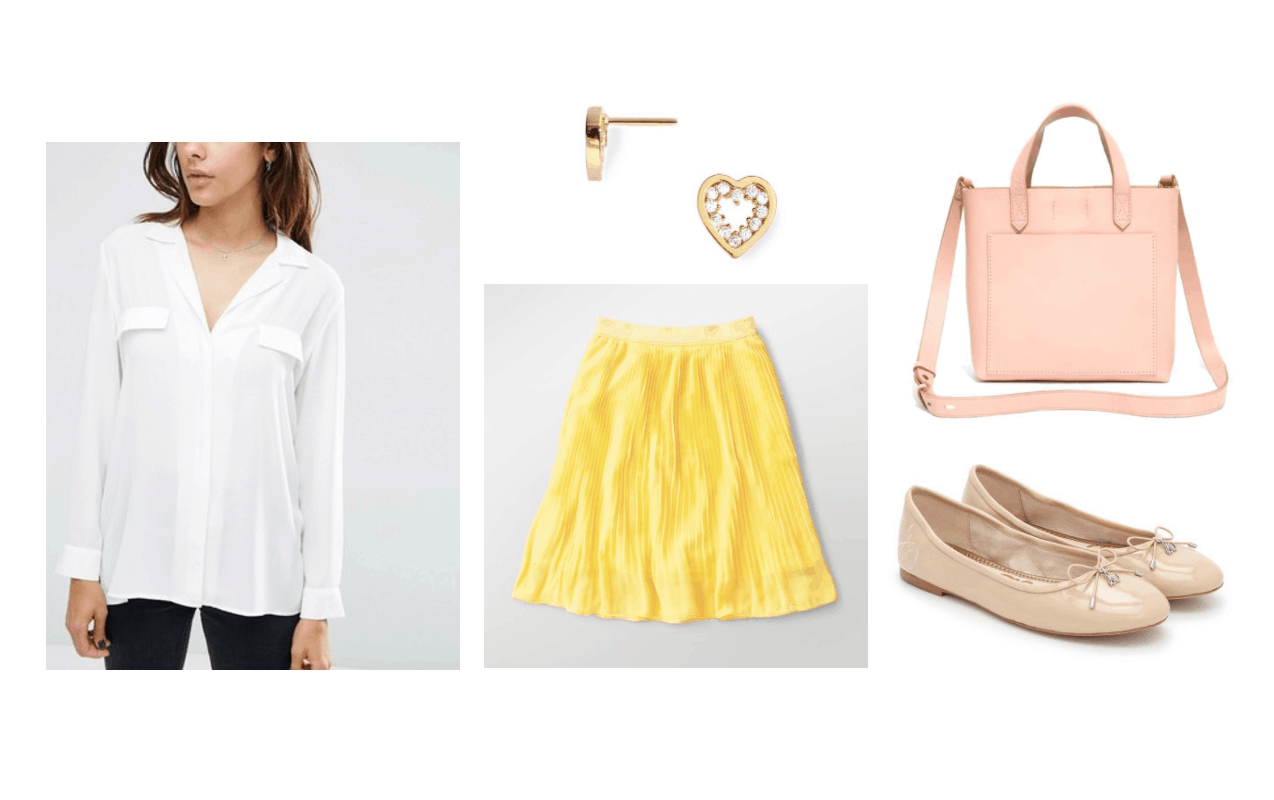 BTS Serendipity music video fashion: Outfit inspired by the video with white button-front shirt, yellow ruffle skirt, pink tote bag, nude patent flats, heart shaped earrings