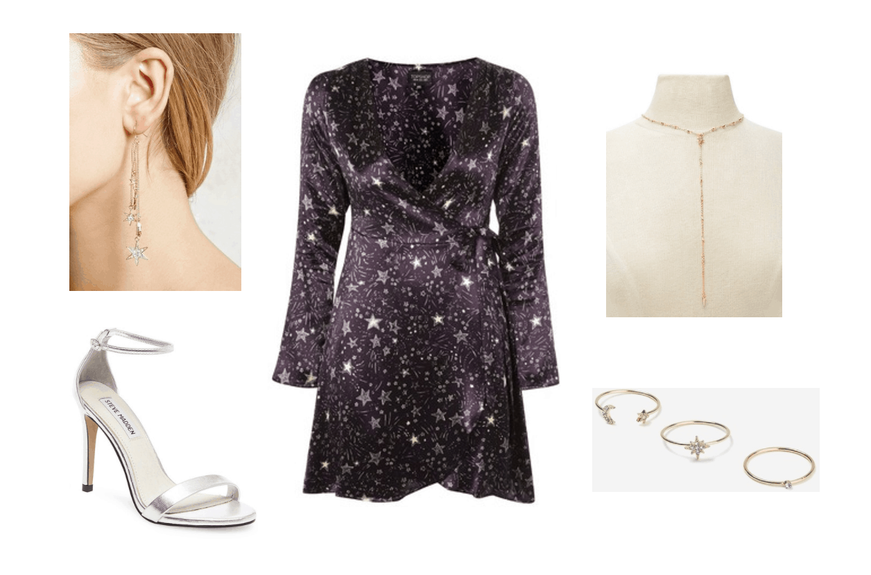 BTS Serendipity music video: Outfit inspired by the video with star print wrap dress, silver heels, long dangly earrings, lariat necklace