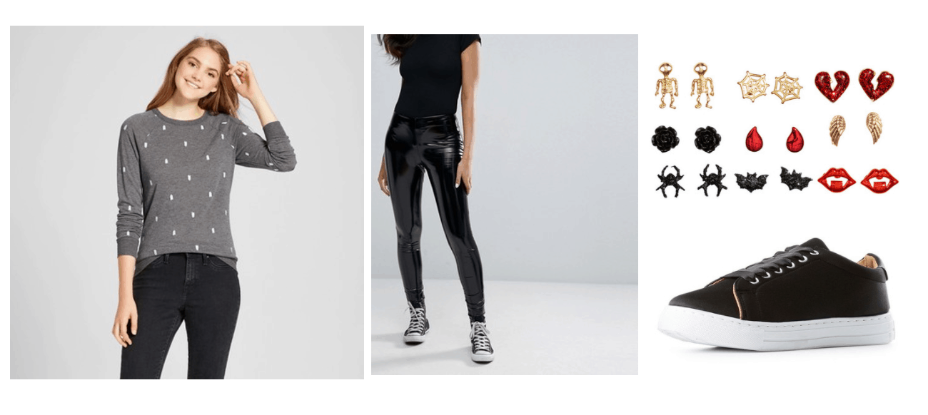 Subtle Halloween outfit for class: Ghost print sweater, leather pants, sneakers, stud earrings