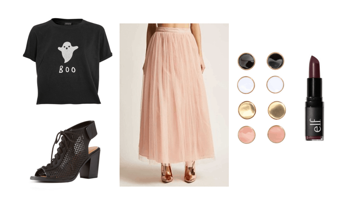 Subtle halloween outfit: Pink tulle skirt, boo tee shirt, dark lipstick, stud earrings, chunky heel peep toe booties