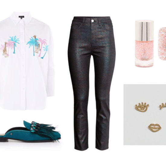 Highlight can be better music video fashion: Palm tree print button-down shirt, glitter nail polish, coated jeans, fringe loafers