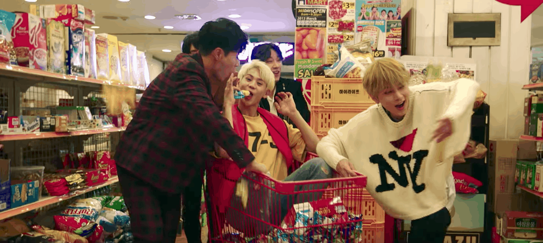 Highlight can be better music video fashion: The band members wearing NY sweatshirts and goofing around in a grocery store