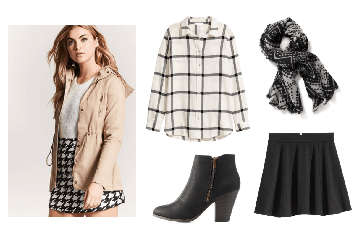 Fall outfits: Cute outfit for fall with plaid shirt, beige anorak jacket, black and white printed scarf, black skater skirt, ankle booties
