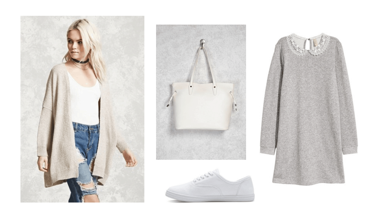 Fall outfits: Cute outfit for fall with beige cardigan, gray long sleeve top, white tote bag, white sneakers
