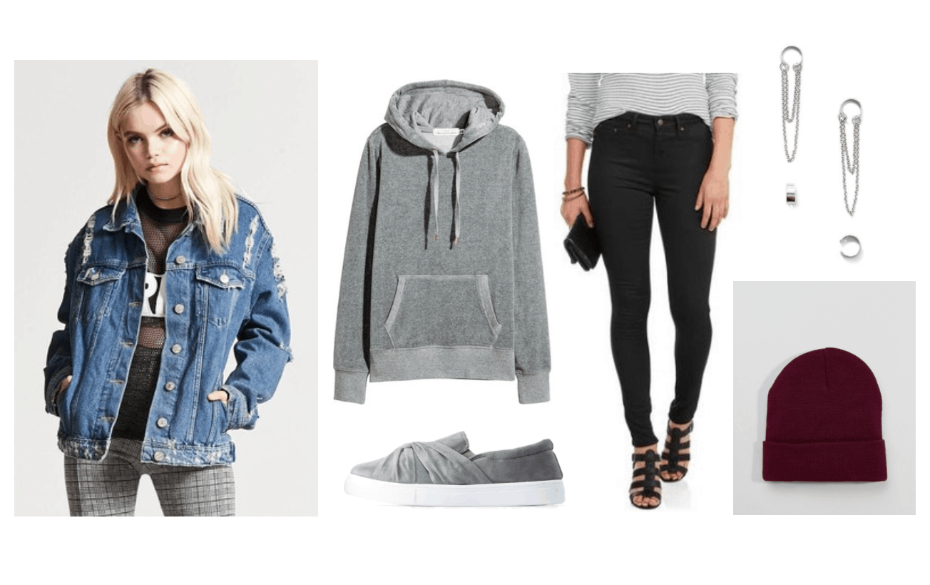 Fall outfits: Cute outfit for fall with denim jacket, gray sweatshirt, black skinny jeans, gray and white sneakers, burgundy hat, silver chain earrings