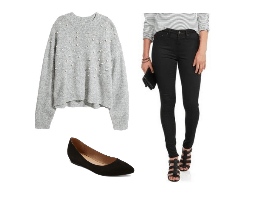 Comfortable thanksgiving outfits 2017: Oversized sweater, black ballet flats, black jeans
