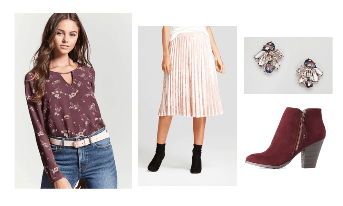 Thanksgiving outfits 2017: Printed top, pink pleated skirt, suede ankle booties, jeweled earrings