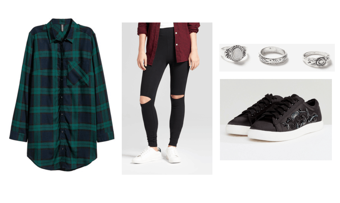 Comfortable Thanksgiving outfits: Ripped black jeans, oversized green flannel shirt, black and white sneakers, silver rings