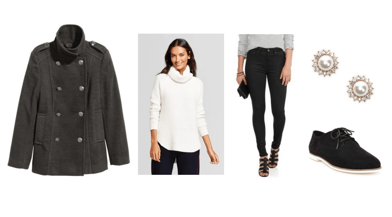 Peacoat outfit 1: Gray double breasted pea coat, white turtleneck sweater, dark wash jeans, oxfords, pearl earrings