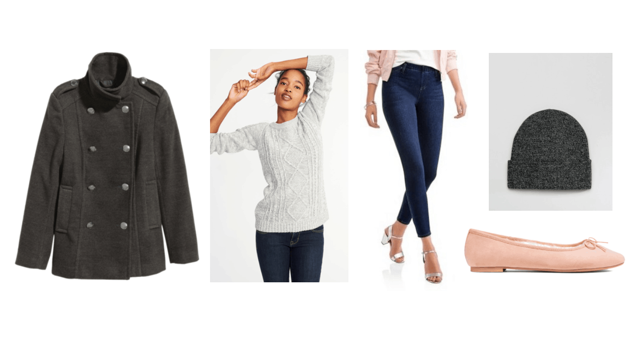Peacoat outfit 3: Gray double breasted pea coat, gray cable knit sweater, dark wash jeans, pink ballet flats, beanie