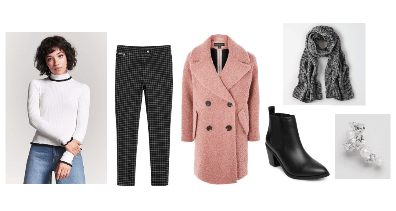 John Park Smile music video fashion: Outfit inspired by the video with pink coat, white turtleneck sweater, black jeans, dark gray scarf, Chelsea boots