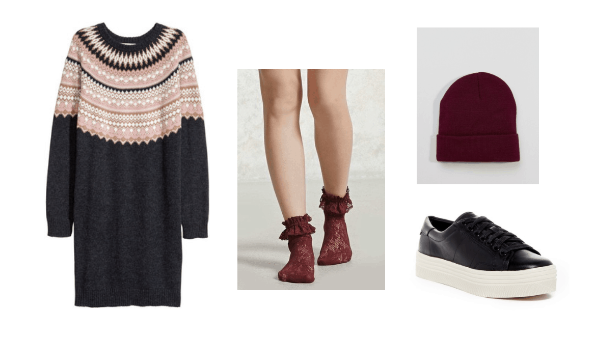 John Park Smile music video fashion: Outfit inspired by the video with fair isle sweater dress, burgundy ruffle socks, black platform sneakers