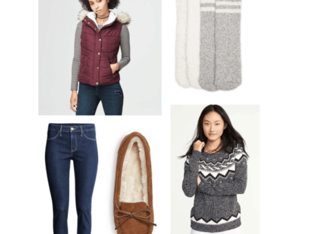 Outfits Under $100 - Finals Week Fashion: Burgundy hooded vest, Fair Isle sweater, skinny jeans, fuzzy socks, moccasin slippers ($84.78)