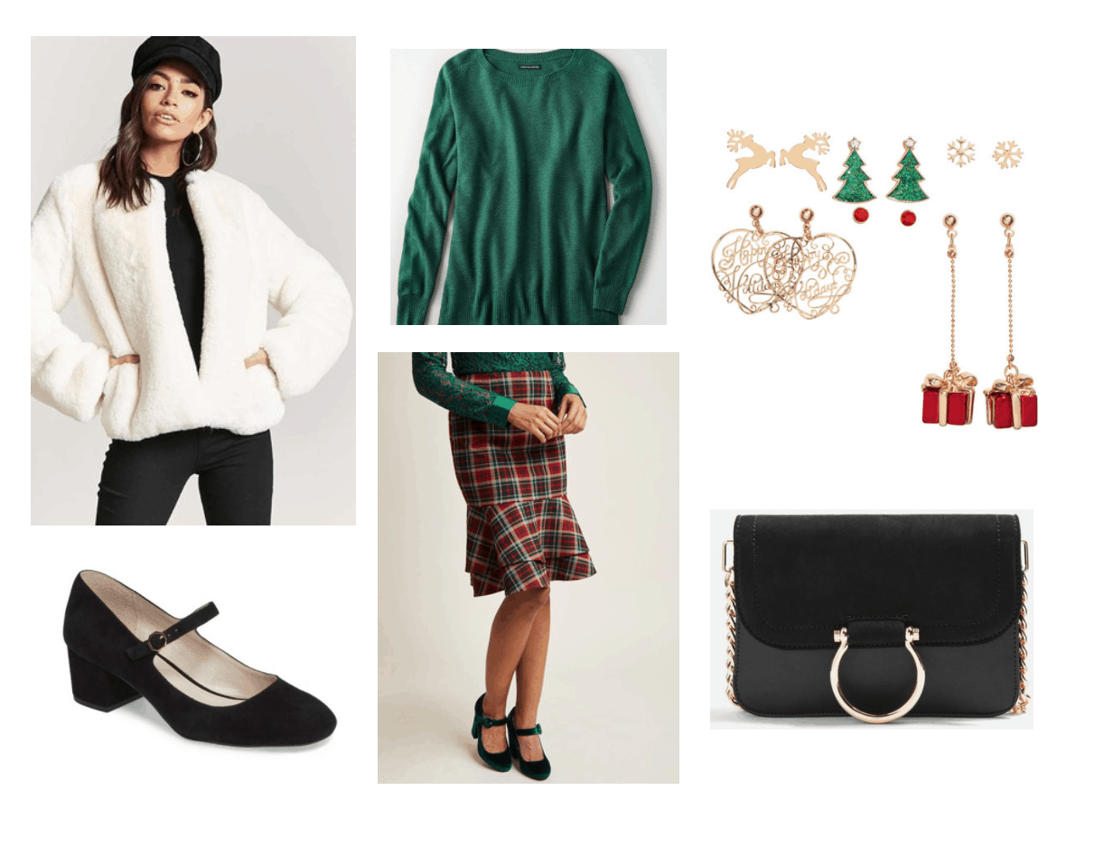 Festive Holiday Look: green sweater, plaid pencil skirt, faux-fur jacket, mary-jane pump, holiday earrings, black crossbody bag