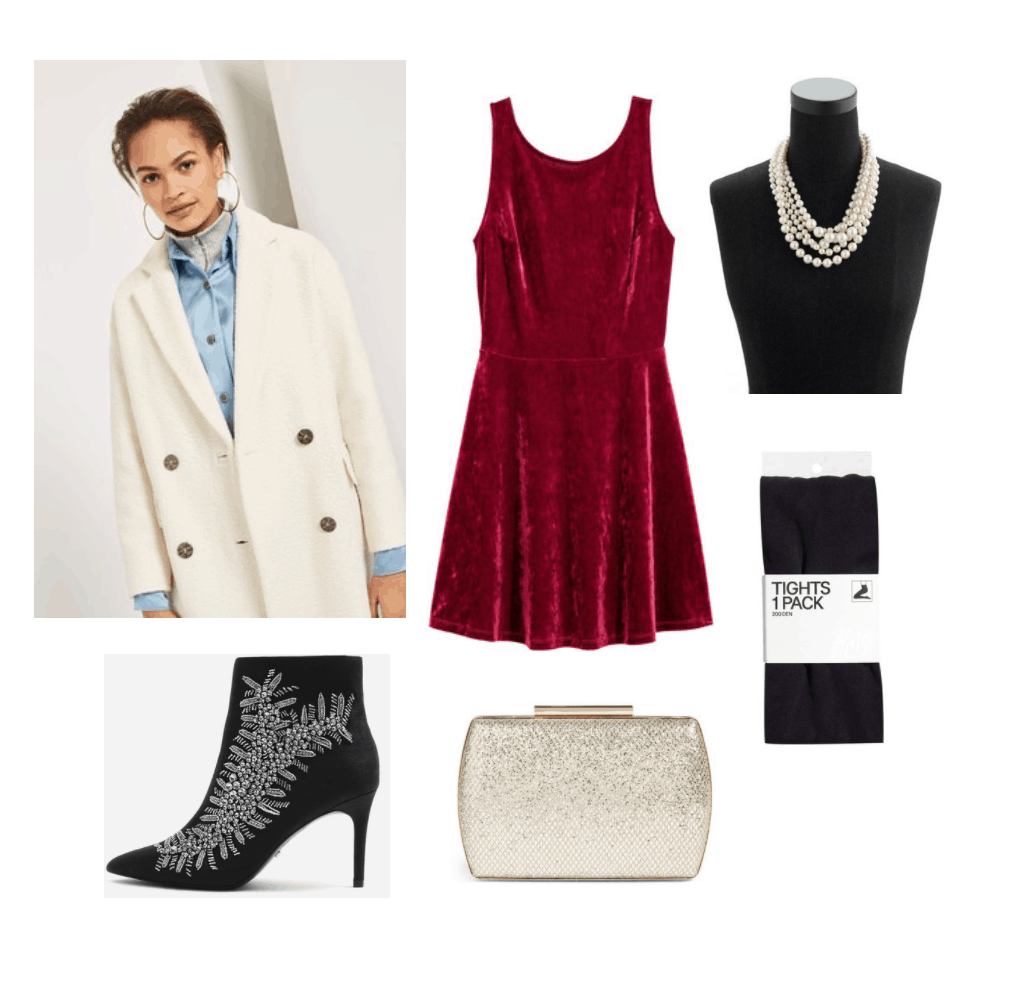 Festive Holiday Look: Red velvet dress, long coat, pearl necklace, embellished ankle boots, clutch, tights.