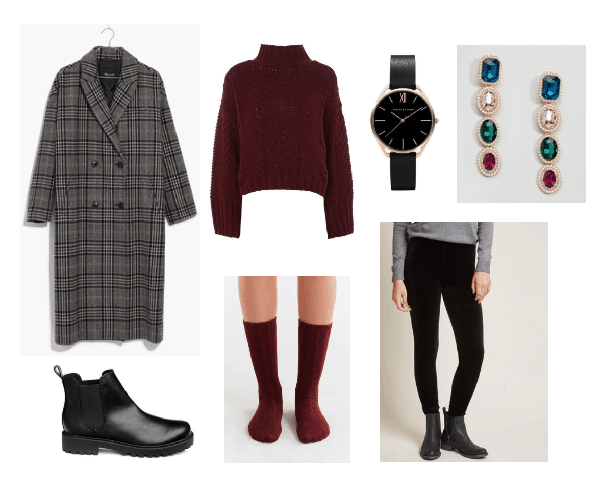 Festive Holiday Look: plaid coat, cable-knit sweater, black velvet leggings, chunky Chelsea boots, black watch, jewel drop earrings, socks