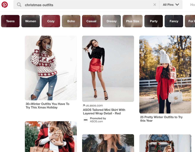 Pinterest Search Results Screenshot