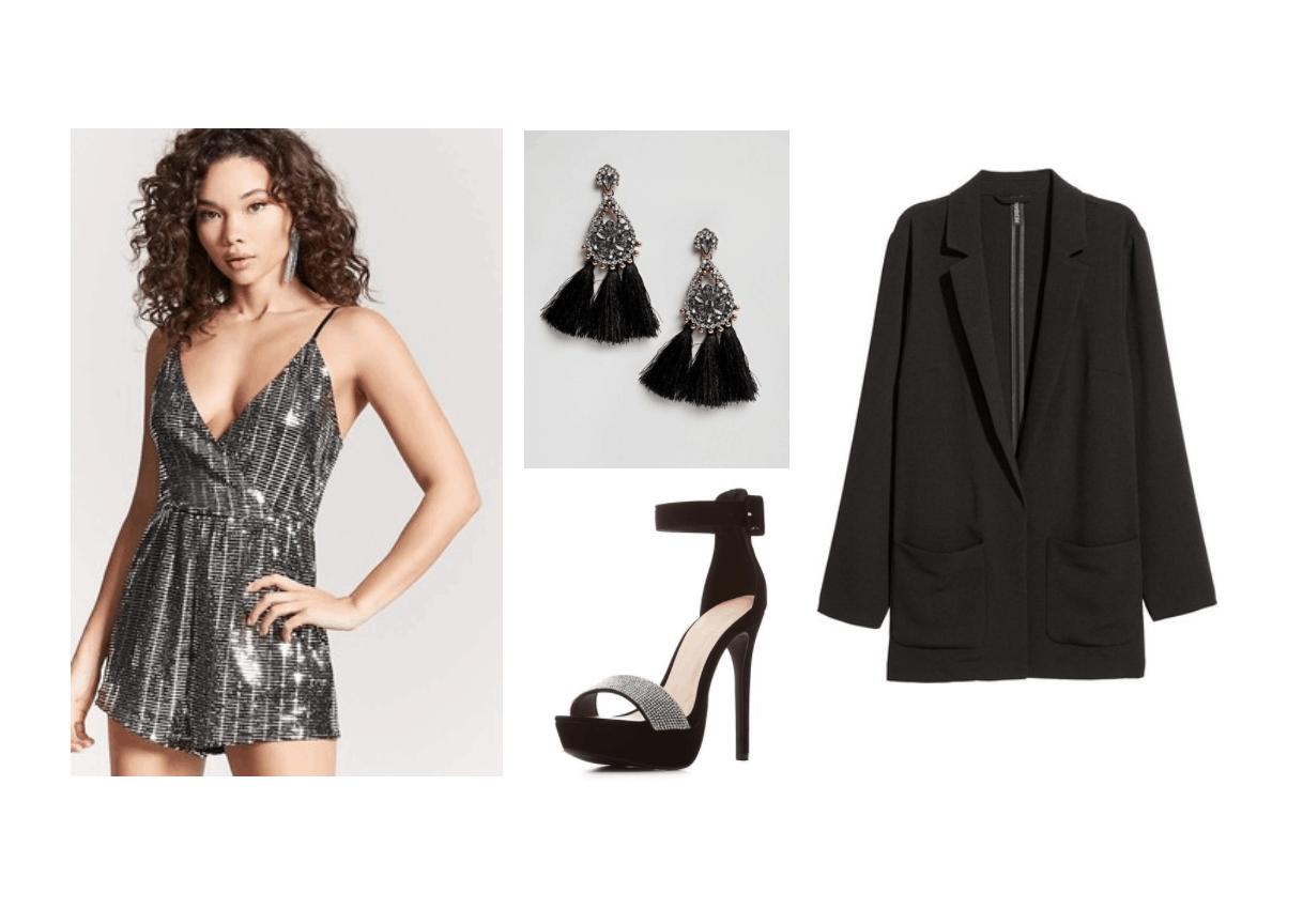 New Year's Eve Look: sequin romper, black blazer, tassel gem earrings, black platform heels ($89.39)