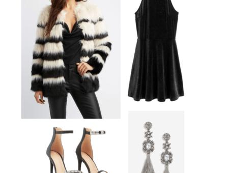 New Year's Eve Look: glitter velour dress, faux-fur jacket, tassel drop earrings, dressy heels (.99)