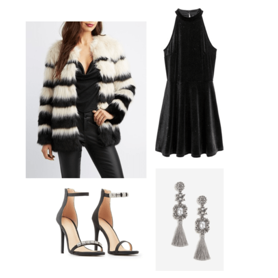 New Year's Eve Look: glitter velour dress, faux-fur jacket, tassel drop earrings, dressy heels ($97.99)