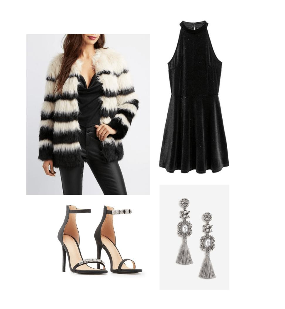 New Year's Eve Look: glitter velour dress, faux-fur jacket, tassel drop earrings, dressy heels ($97.99)