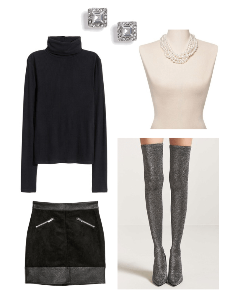 New Year's Eve Look: Black turtleneck top, faux-suede skirt, pearl earrings, crystal studs, over-the-knee sock boots($97.70)