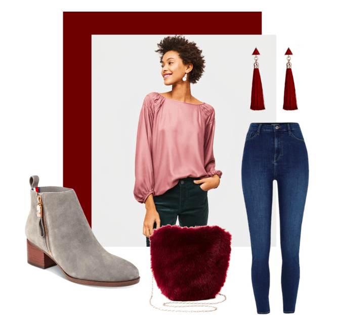 Polyvore set for blouson sleeves with accessories including: booties, a fur bag, high-waisted jeans, and tassel earrings.