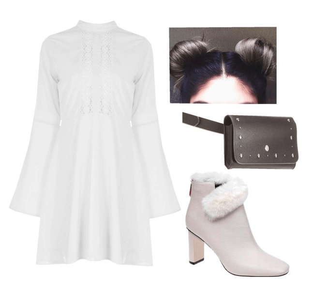 Outfit inspired by Princess Leia: White long sleeve dress, white boots with fur trim, studded black fanny pack