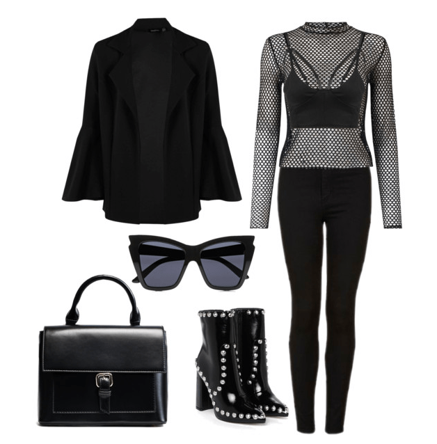 Outfit inspired by Darth Vader including black jeans, black mesh top over a bralette, black bell sleeve jacket, studded black boots, black top handle bag, and cat eye sunglasses