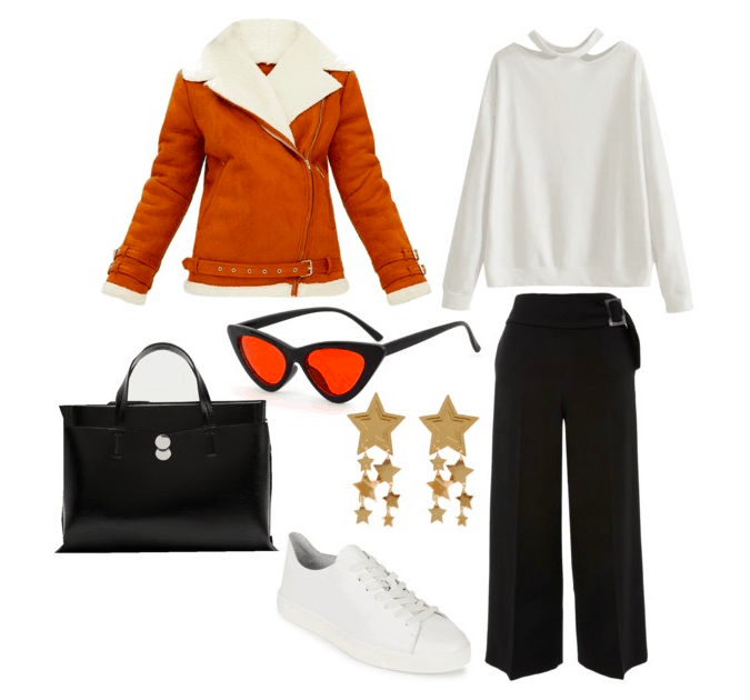 Outfit inspired by BB 8 from Star Wars: Orange and white shearling moto jacket, white choker cutout sweatshirt, black wide leg pants, black top handle purse, star earrings, orange and black sunglasses, simple white Calvin Klein sneakers