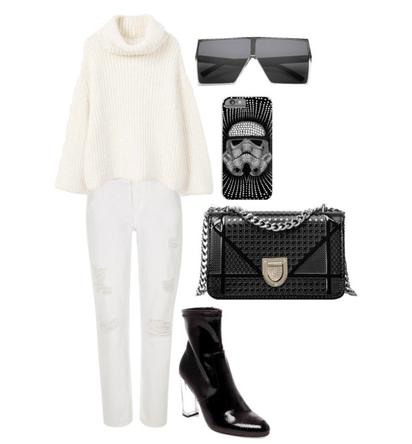 Stormtrooper outfit: White ripped jeans, white oversized turtleneck sweater, black perspex heel ankle booties, black quilted bag, stormtrooper iPhone case, oversized black angular sunglasses