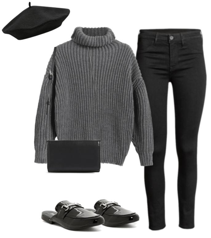 Black beret, gray sweater, black purse, black jeans, black loafers