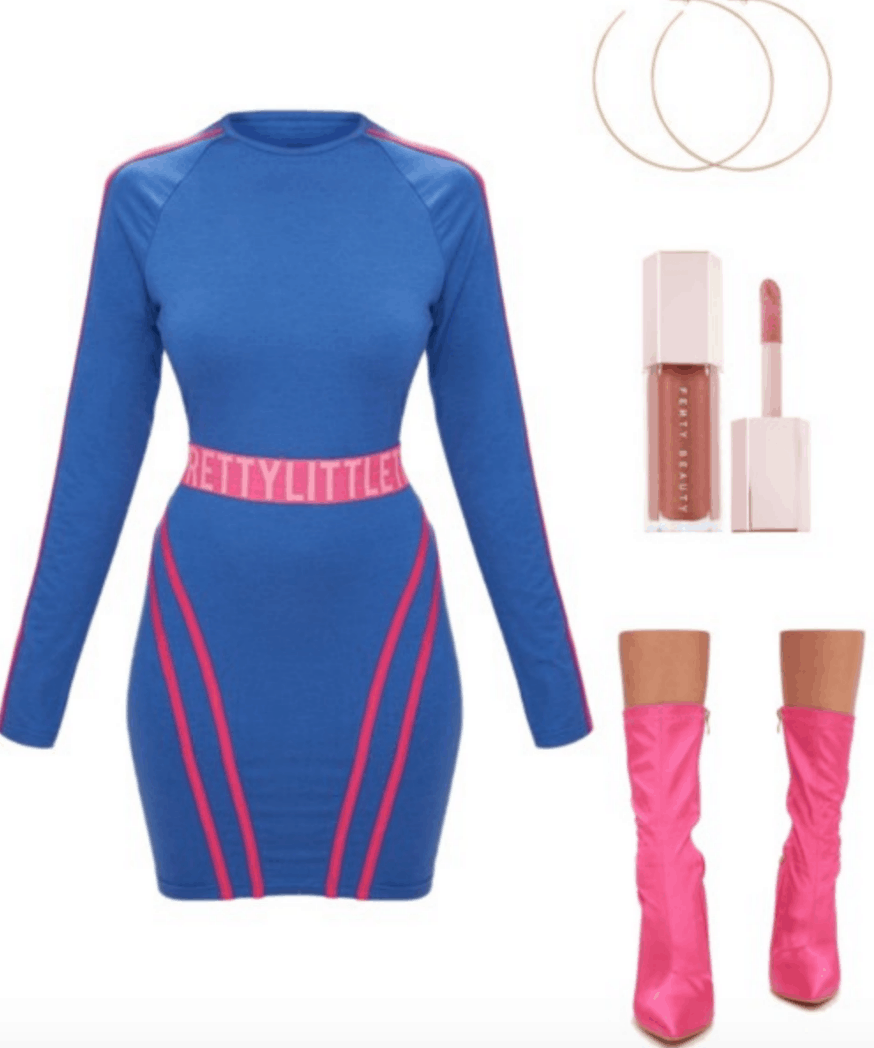 Outfit inspired by Fenty x Puma Spring 2018: Neon blue and pink dress, Fenty Beauty gloss bomb, neon pink pointed toe ankle booties, gold hoop earrings