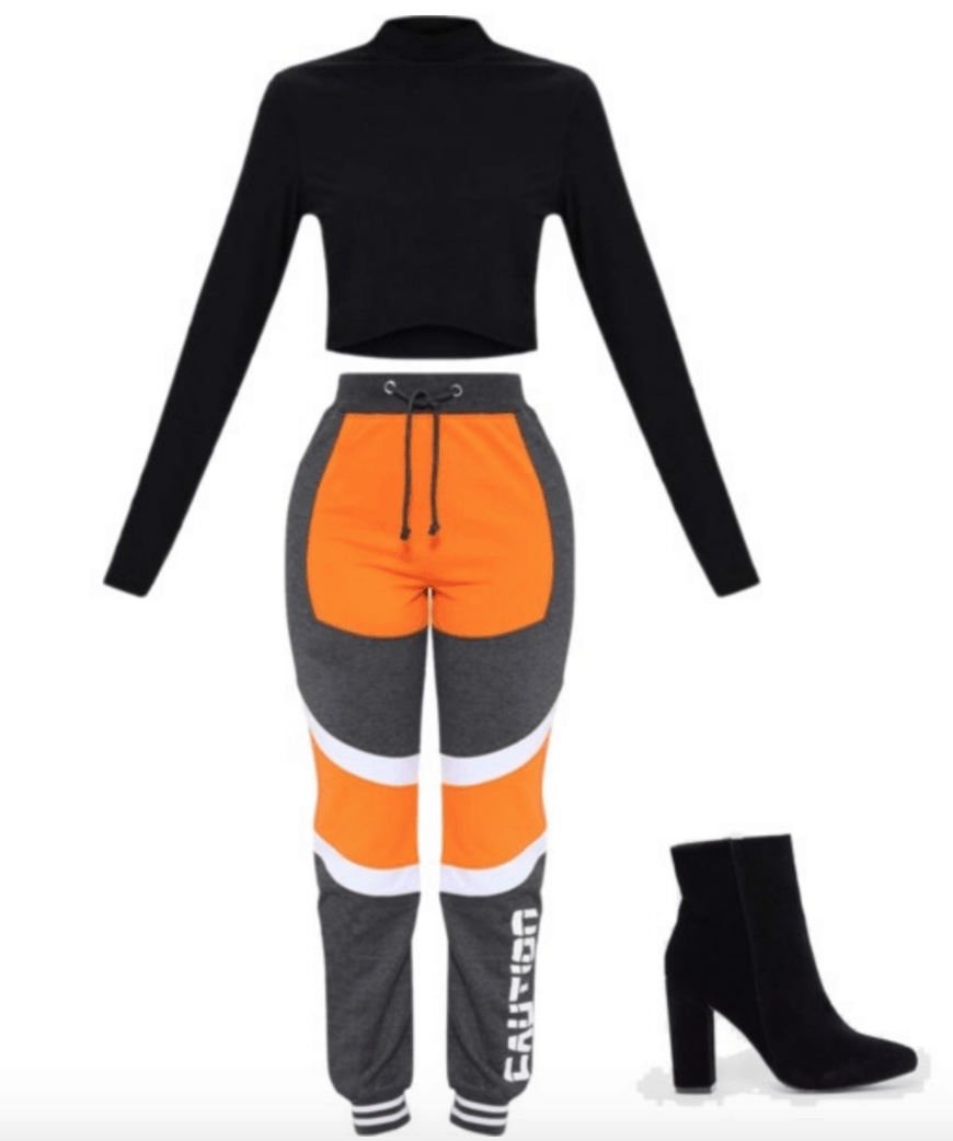 Outfit inspired by Fenty x Puma Spring 2018: Orange and gray sweat pants, cropped turtleneck in black, black ankle boots