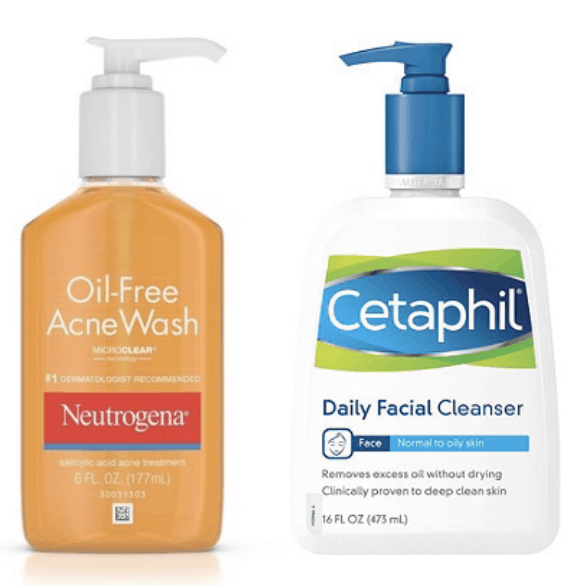 neutrogena, cetaphil, facial cleanser, oil-free, acne, daily