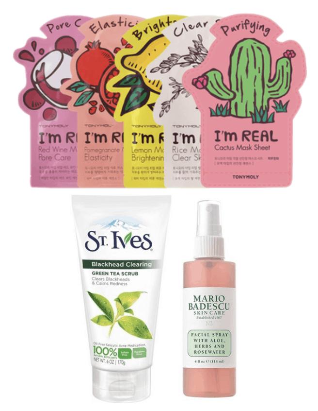 tony moly, sheet masks, st ives, facial scrub, exfoliator, mario badescu, facial spray