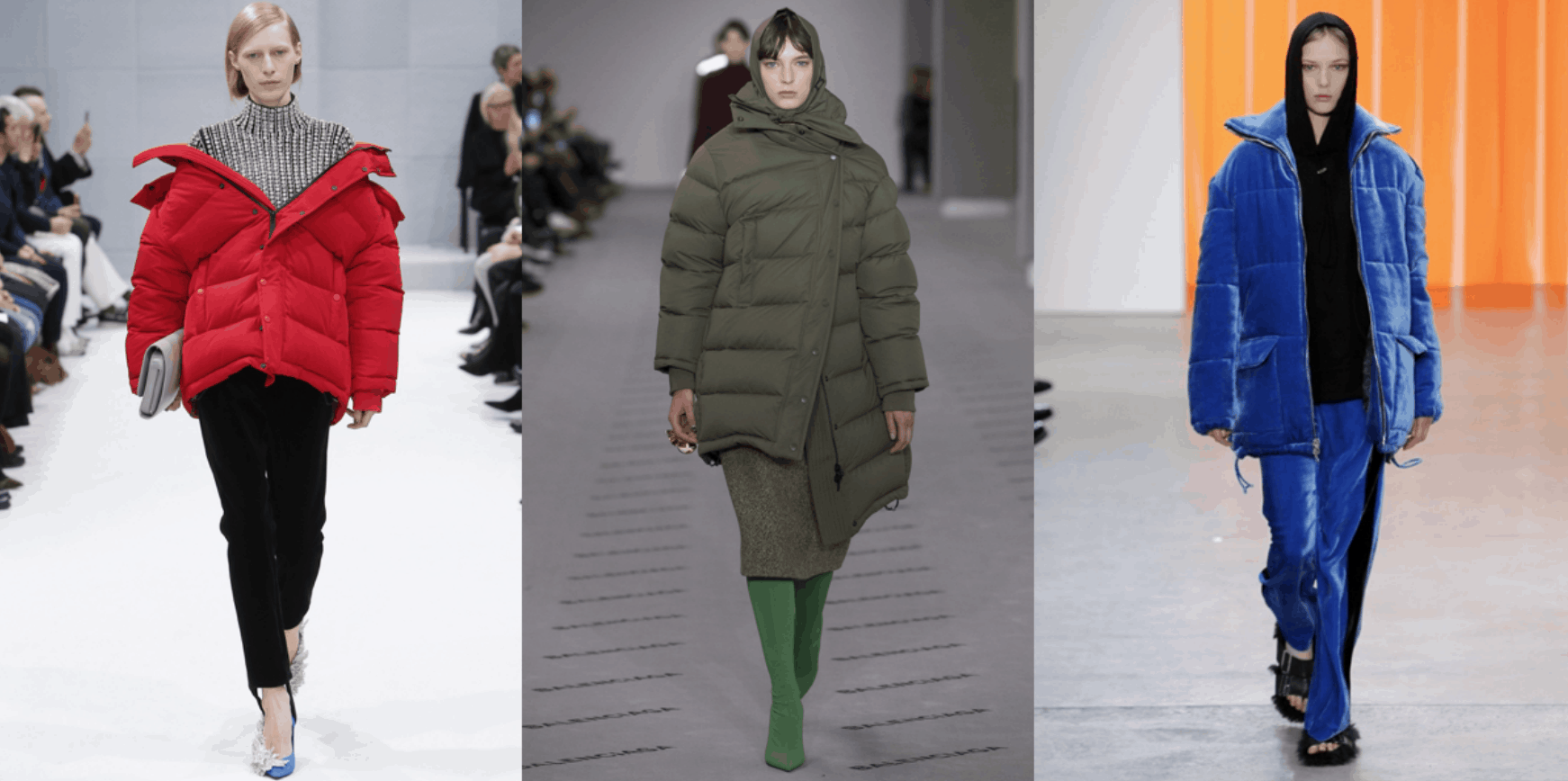 Winter outerwear trends for fall/winter 2017-18. Puffer jackets seen all over the runway from Balenciaga to Dion Lee.