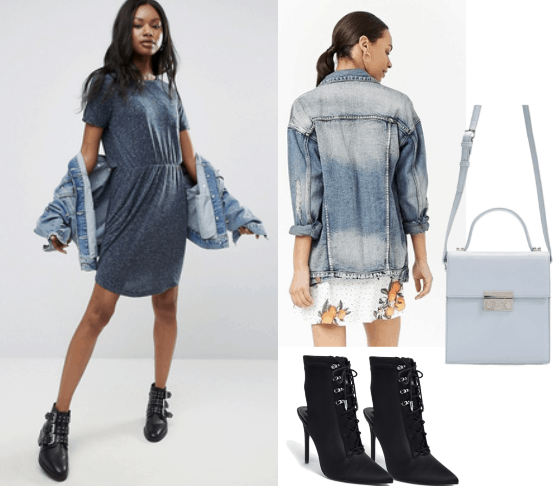 dress, denim jacket, crossbody bag, blue, black heels