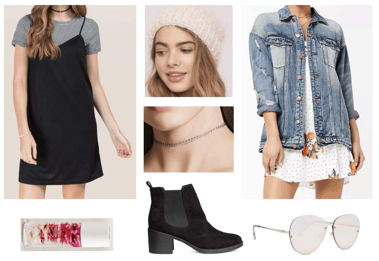 Sunday window shopping outfit with layered tee shirt dress, denim jacket, pink beanie hat, silver choker necklace, lip gloss, and mirrored sunglasses