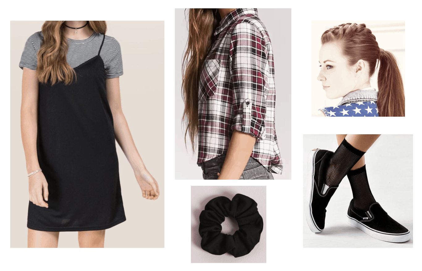 '90s outfit with layered tee shirt dress, plaid-button down shirt, black velvet scrunchie, braided ponytail and black slip-on Vans sneakers