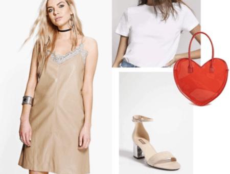 slip dress, nude, heels, white t-shirt, red, heart, tote bag