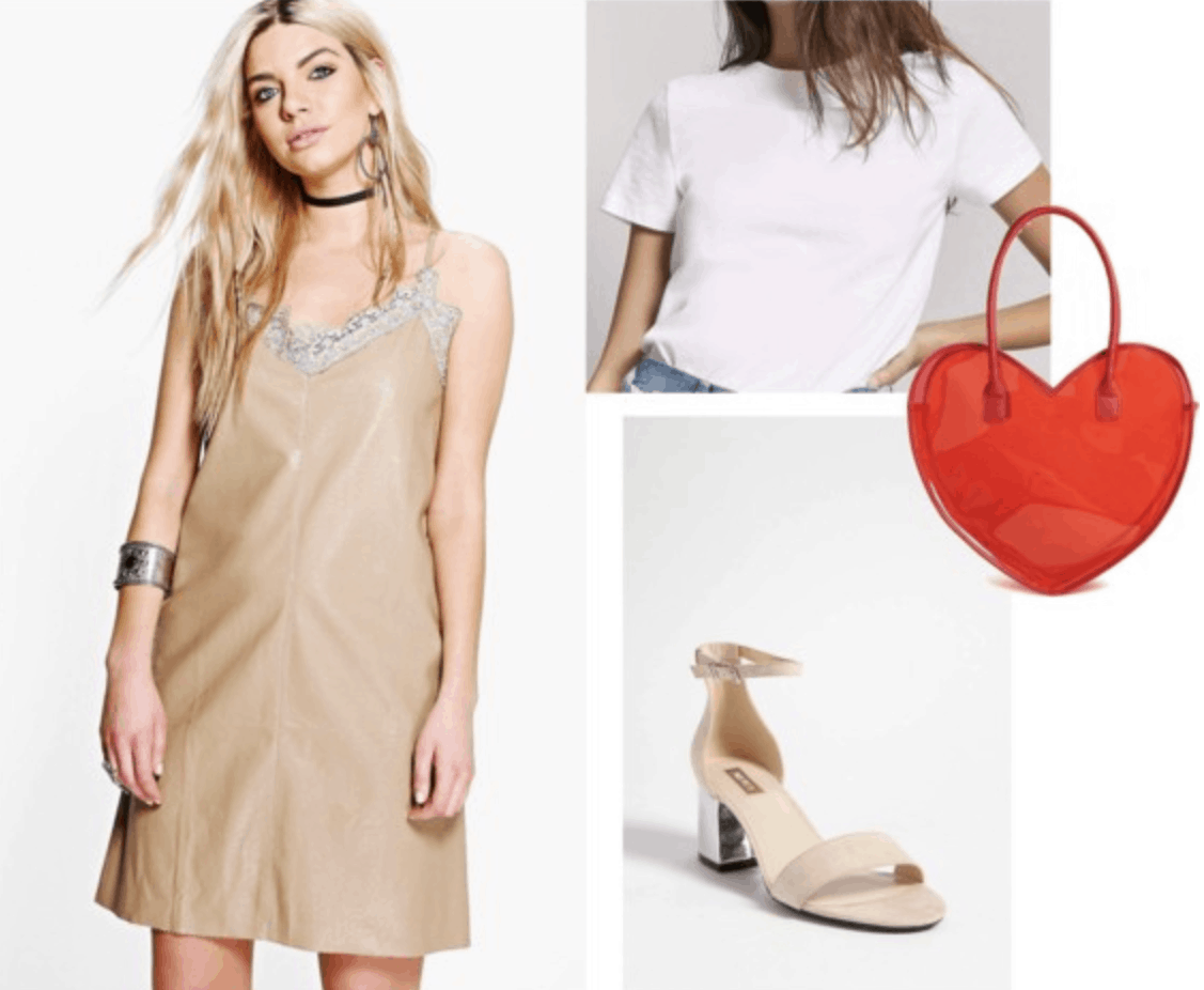 slip dress, nude, heels, white t-shirt, red, heart, tote bag