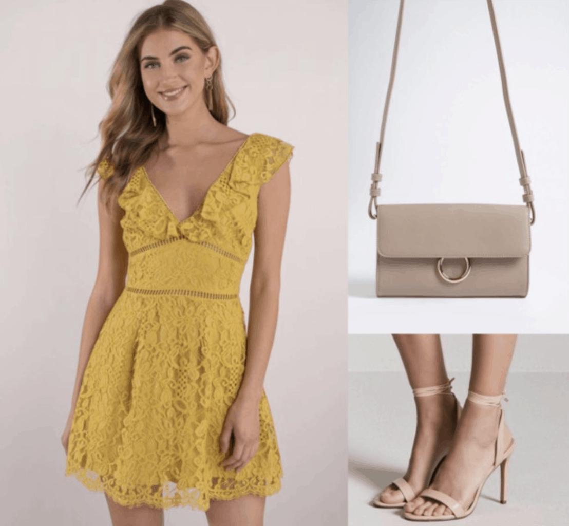 yellow, lace dress, heels, nude, bag, crossbody bag, brown