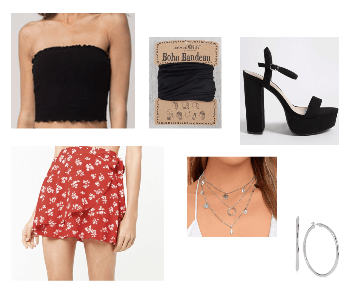 Floral skirt with black tube top, black heels, black head bandeau, silver necklace, and silver hoops
