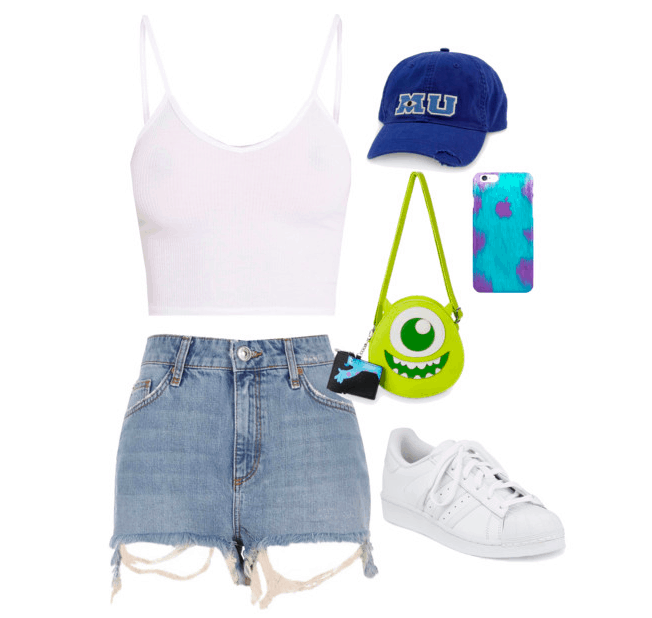 Disney parks outfit inspired by Monsters Inc: White tank top paired with cutoff denim shorts and white sneakers. Accessories include a Monster's Inc purse, phone case and a Monster's University baseball cap